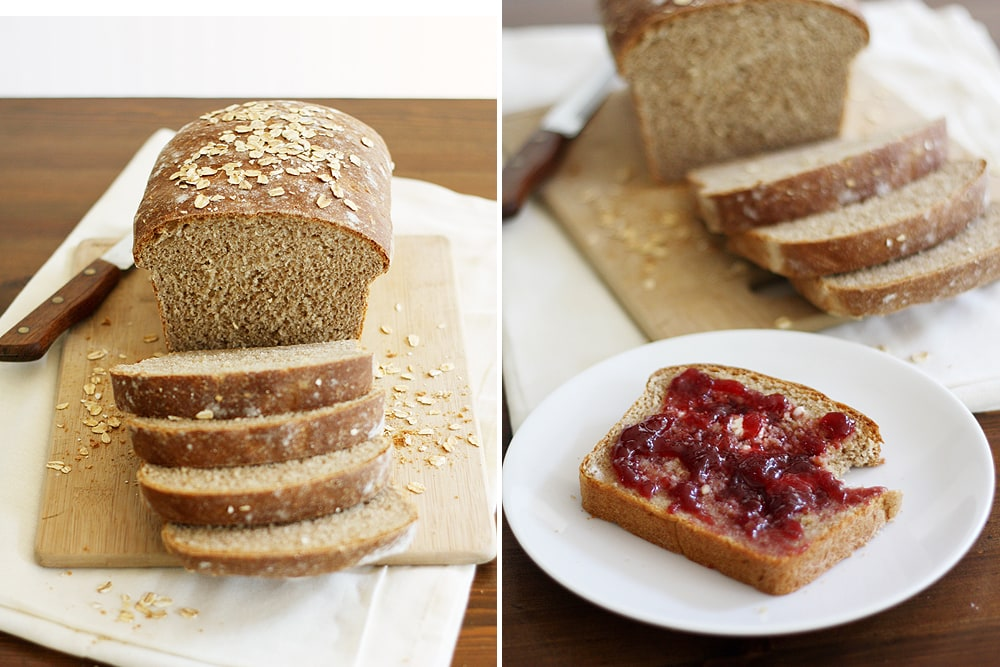 jelly spread on slice of whole wheat honey oatmeal bread
