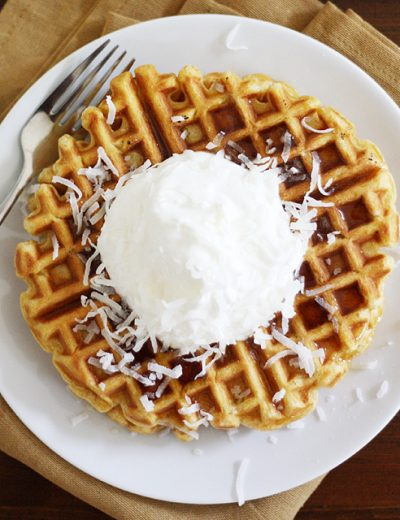 Pumpkin Coconut Yogurt Waffles