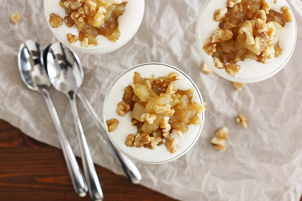 apple ginger compote with yogurt in glasses