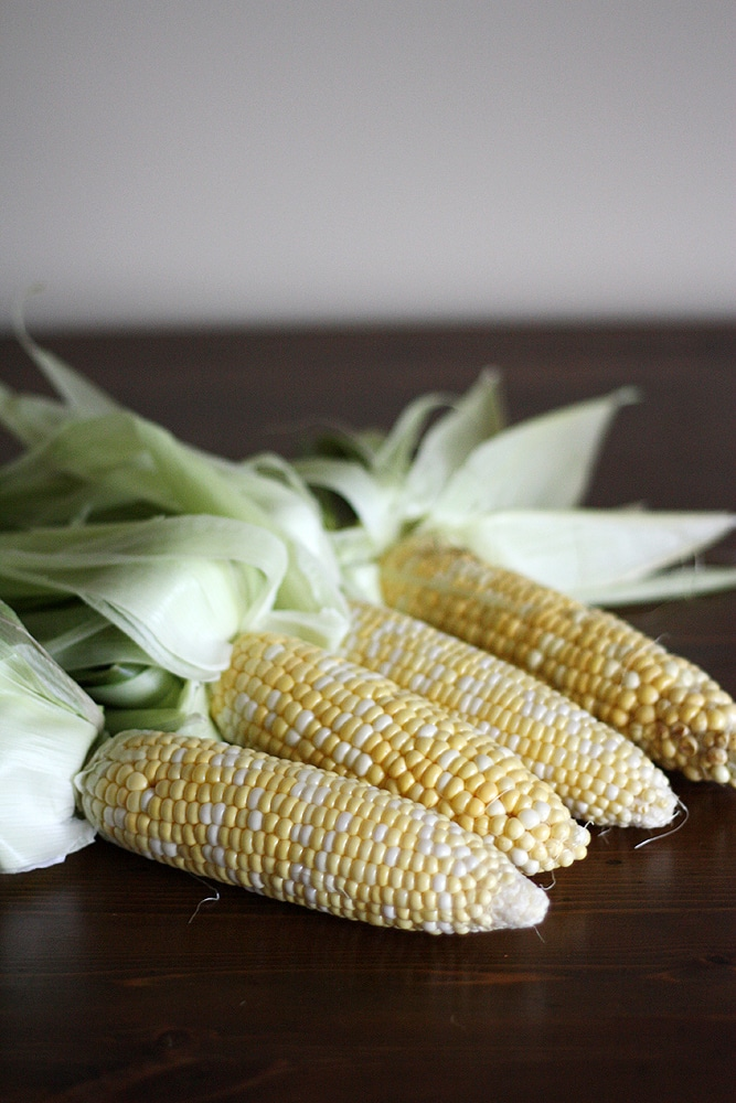 corn cobs on a table