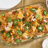 thanksgiving leftovers nachos in baking dish
