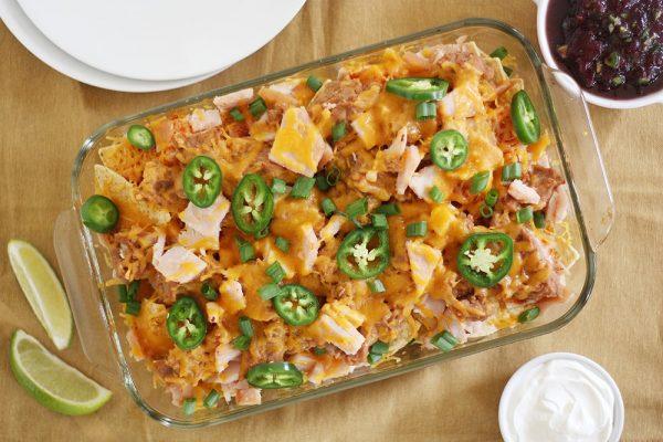 thanksgiving leftovers nachos in baking dish
