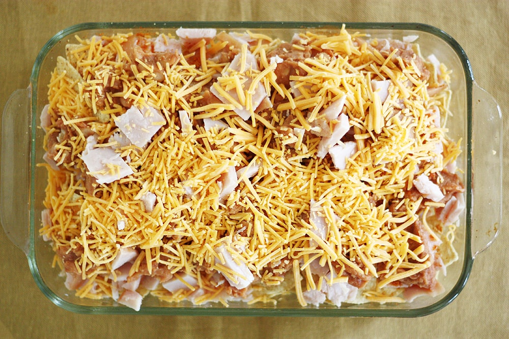 thanksgiving nachos in baking dish ready for oven