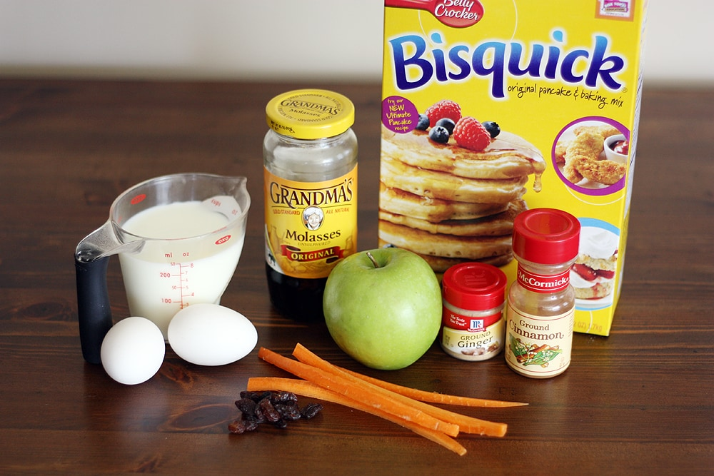 ingredients to make pancakes on a table