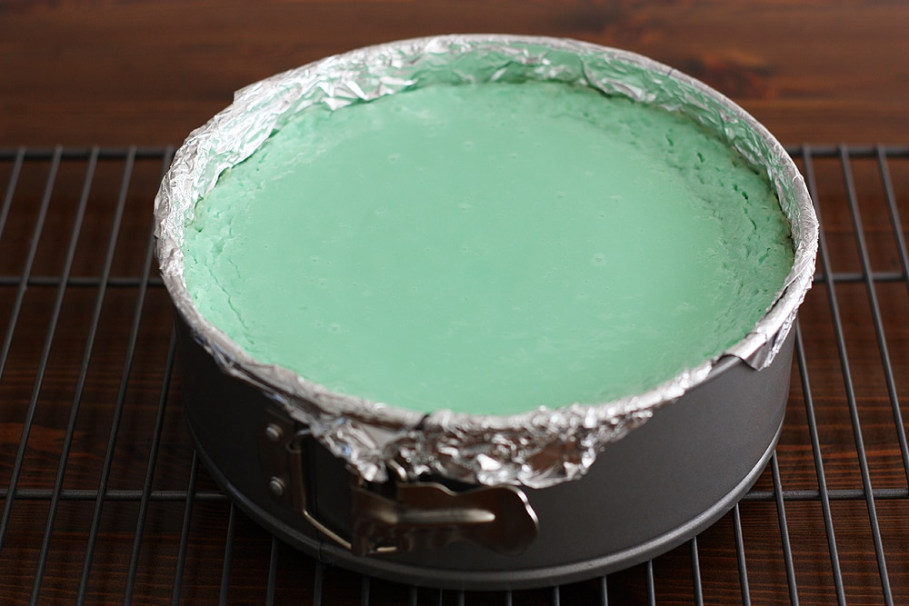 baked cheesecake in pan