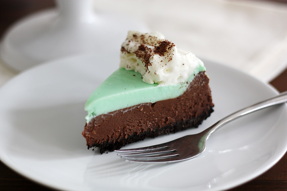 piece of double chocolate mint cheesecake on plate