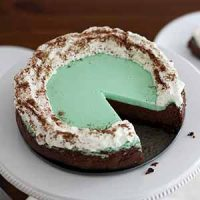 double chocolate mint cheesecake on stand