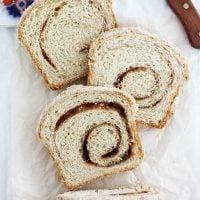 eggnog cinnamon swirl bread slices