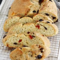basil sun dried tomato bread on cooling rack