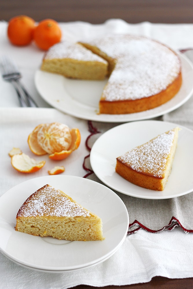 slice of clementine yogurt cake on a plate