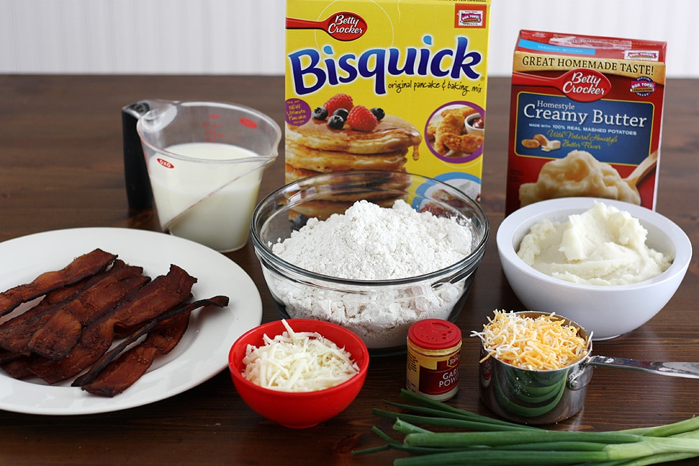ingredients to make mashed potato stuffed biscuits on table