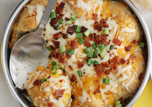 Loaded Mashed Potato Stuffed Biscuits