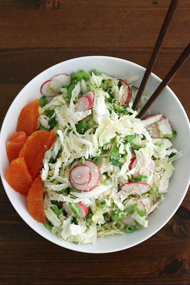 sugar snap pea salad in bowl