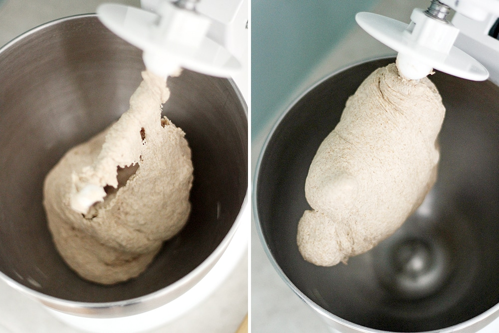 whole wheat baguette dough in stand mixer