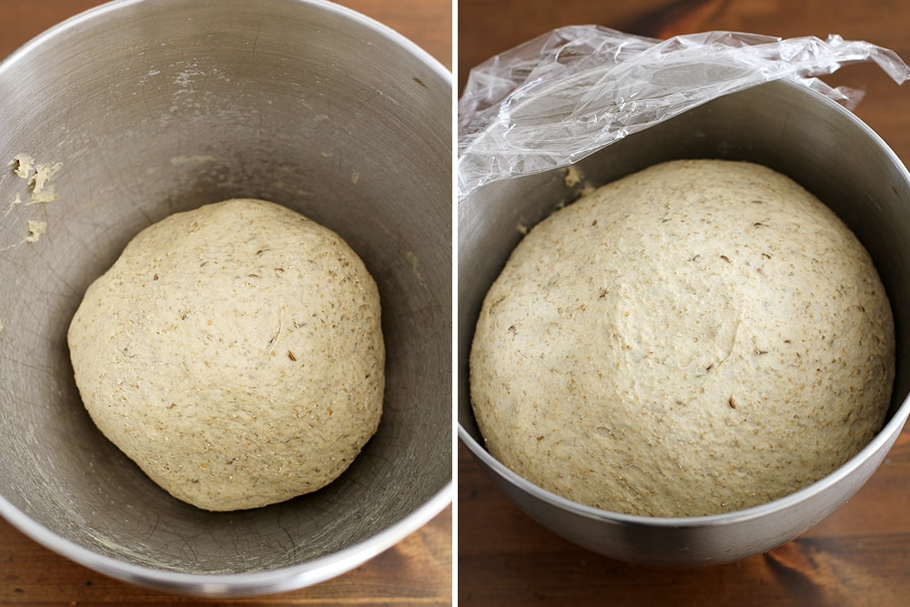 cocktail rye bread dough rising in bowl