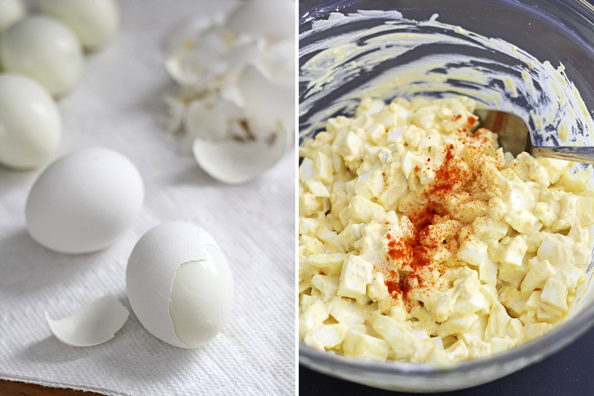 Mom's Egg Salad -- a simple and easy egg salad recipe inspired by my mom! Put this on sandwiches or greens for a tasty lunch. @girlversusdough #girlversusdough #eggrecipe #lunchrecipe
