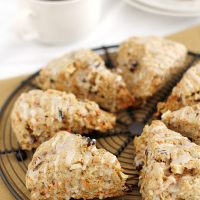 morning glory scones on cooling rack