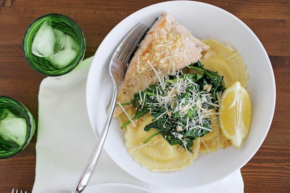 salmon ravioli in bowl on table