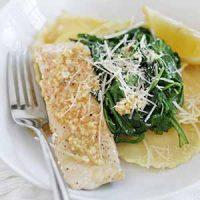 salmon ravioli in bowl
