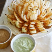 baked blooming onion on plate