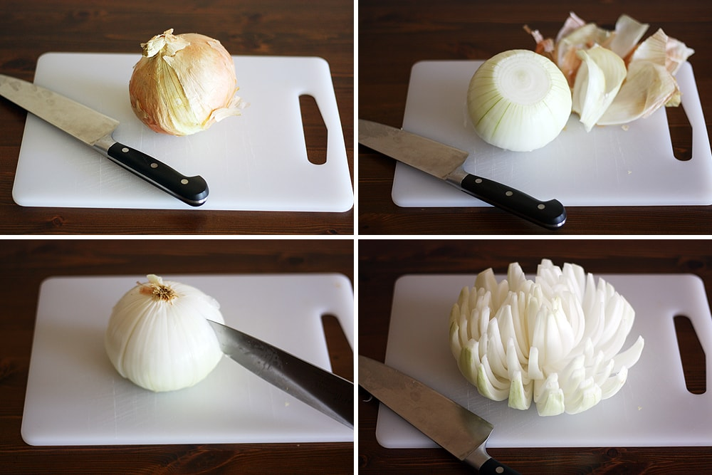 process of cutting onion to make blooming onion