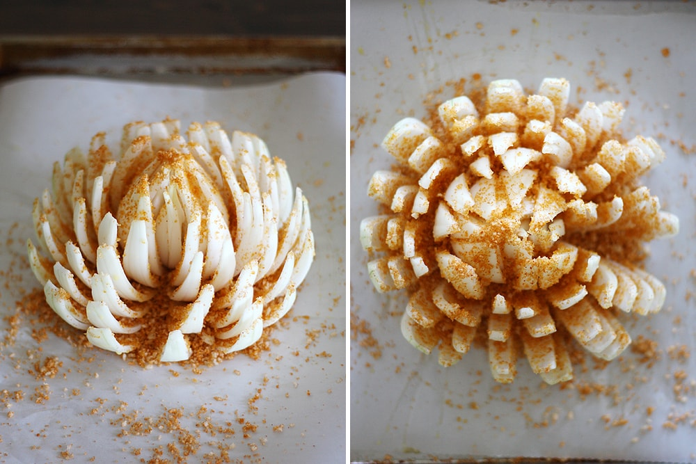 seasoning the baked blooming onion