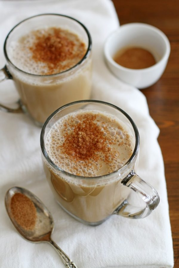 vanilla almond chai latte in glass mug