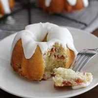 mini lemon rhubarb bundt cake