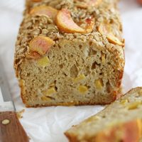 peaches and cream streusel bread on table