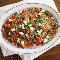 one-pot farro with tomatoes + feta