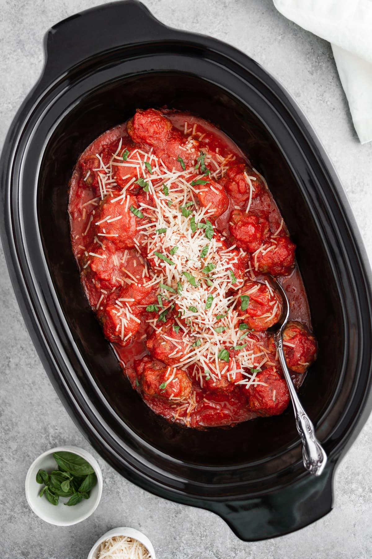 slow cooker italian meatballs in a crockpot