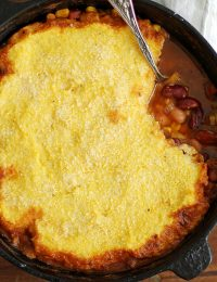 three bean chili polenta pot pie