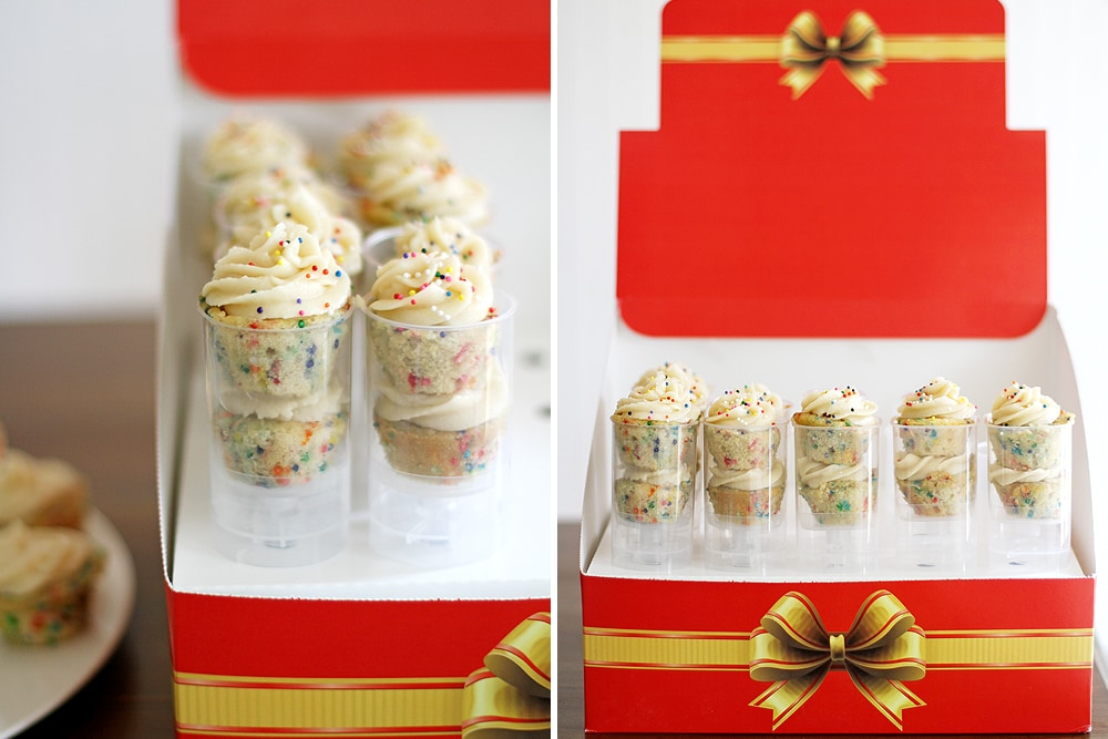 mini funfetti cupcakes in presentation box