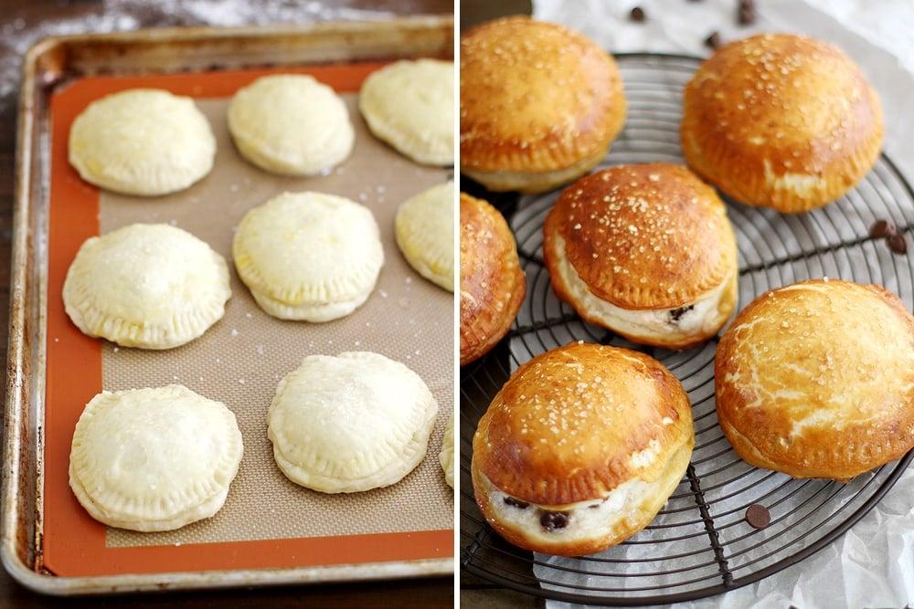 smores pretzel hand pie dough on baking sheet