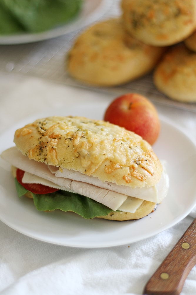 sandwich with asiago herb hoagie roll