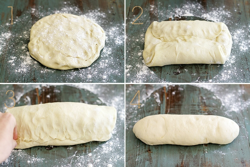 step shots of making Italian bread