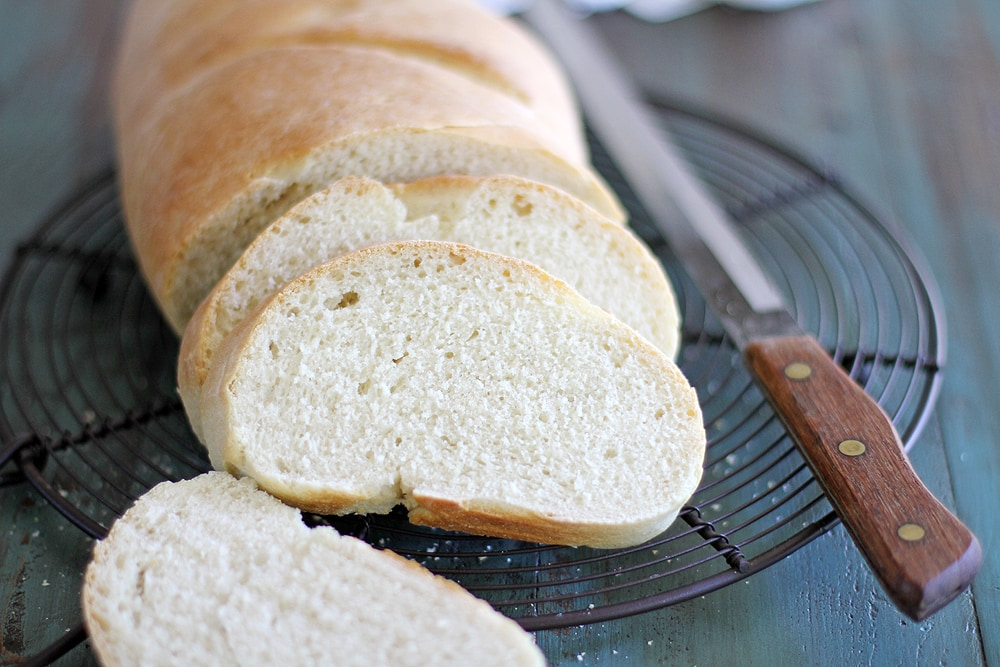 slices of Italian bread on a cooling rack