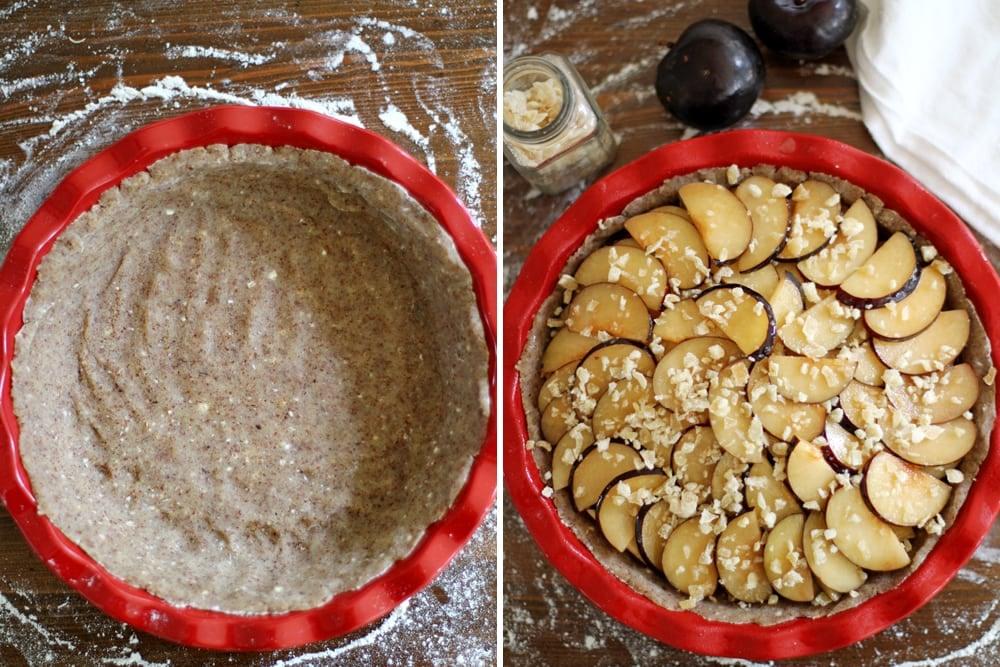 preparing ginger plum pie in pie plate