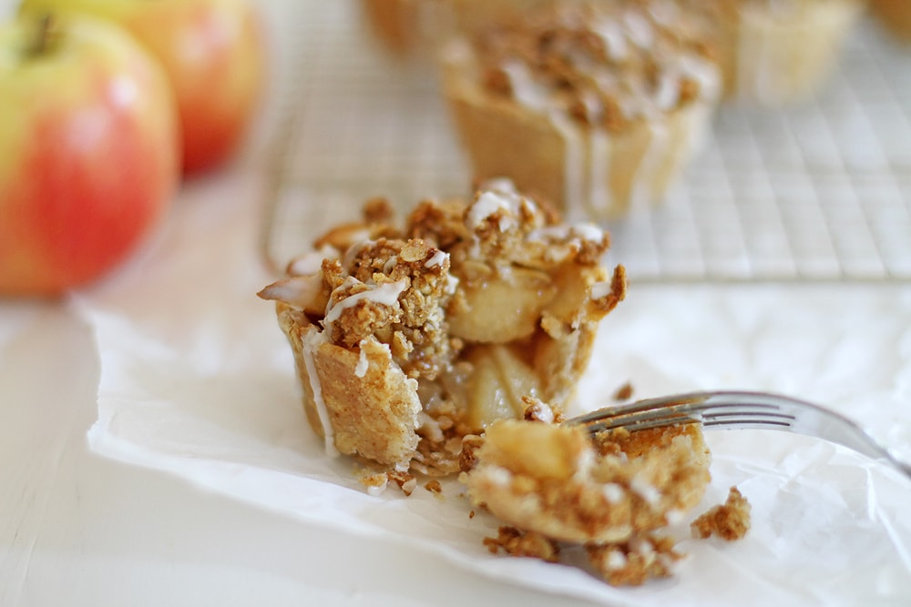 iced oatmeal cookie apple pie with bite taken