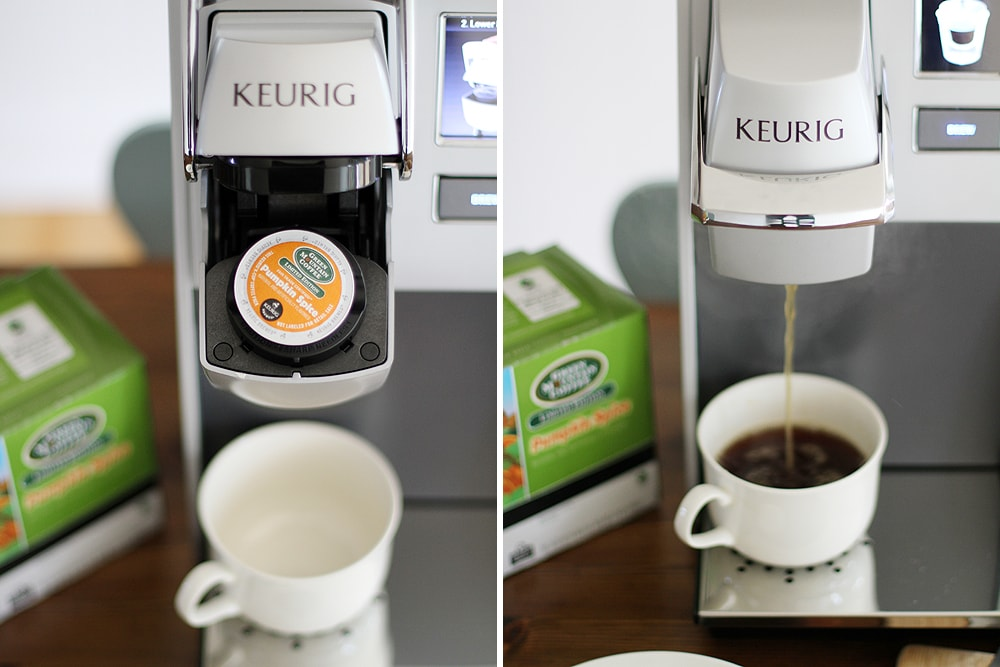 keurig machine brewing coffee