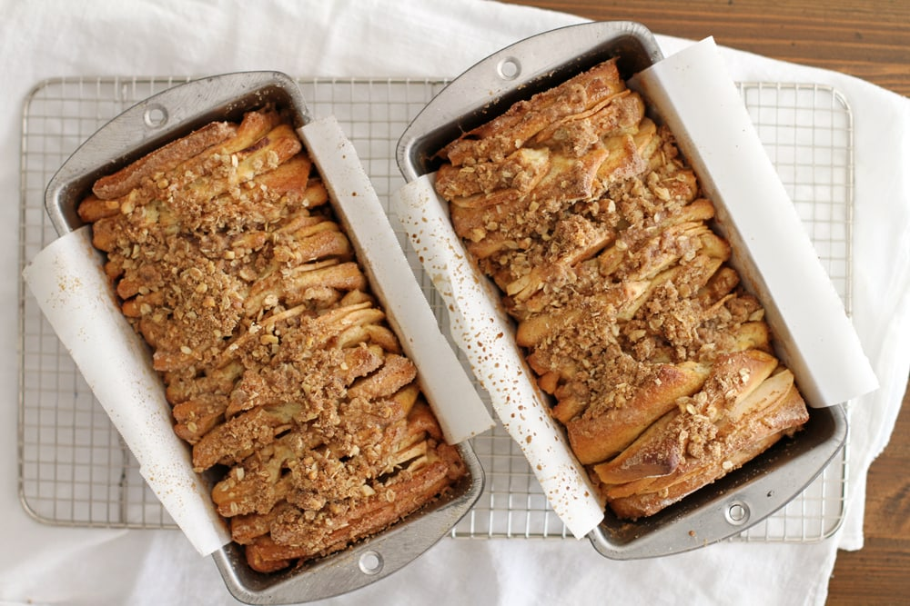 two loaves of apple cinnamon streusel pull apart bread