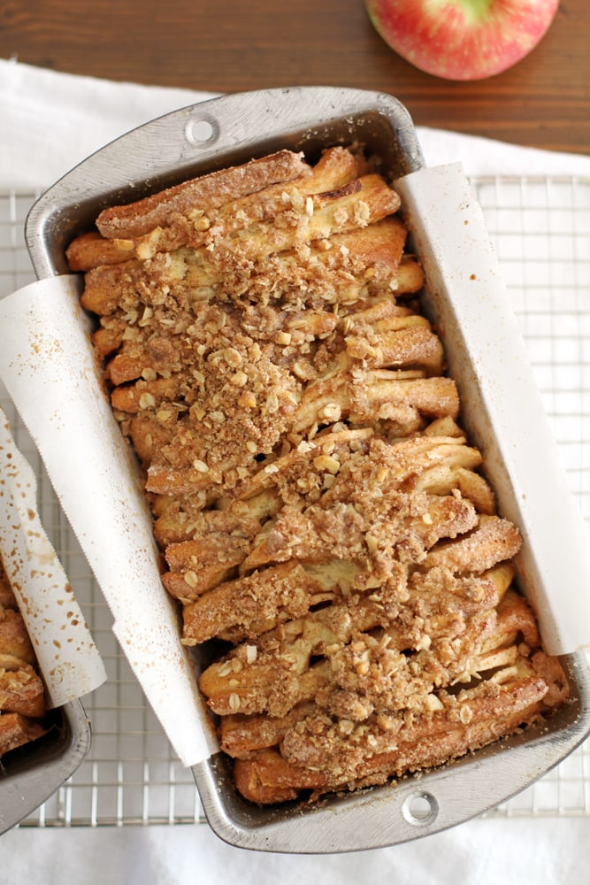 apple cinnamon streusel pull apart bread in a baking pan