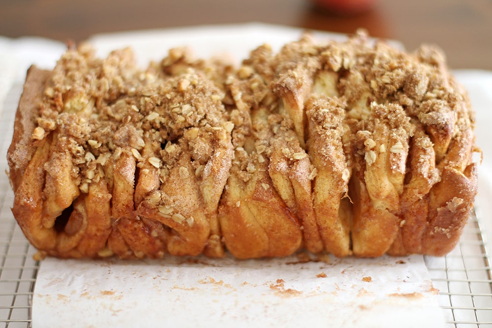 side view of apple cinnamon streusel pull apart bread