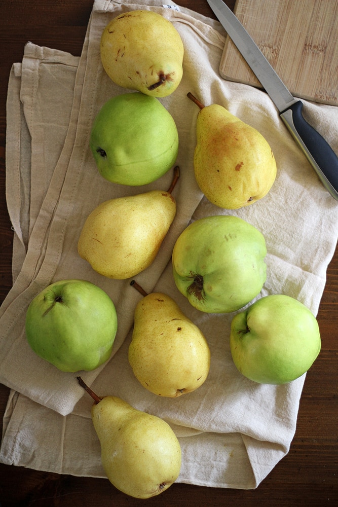 pears on a table