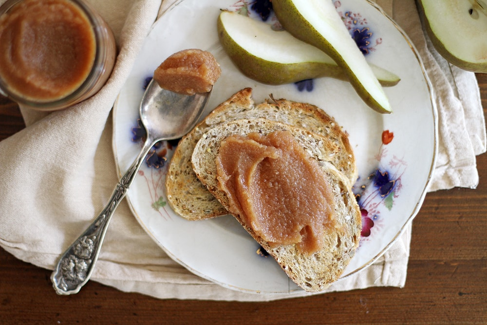 pear quince butter spread on bread