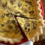 caramelized shallot and mushroom quiche