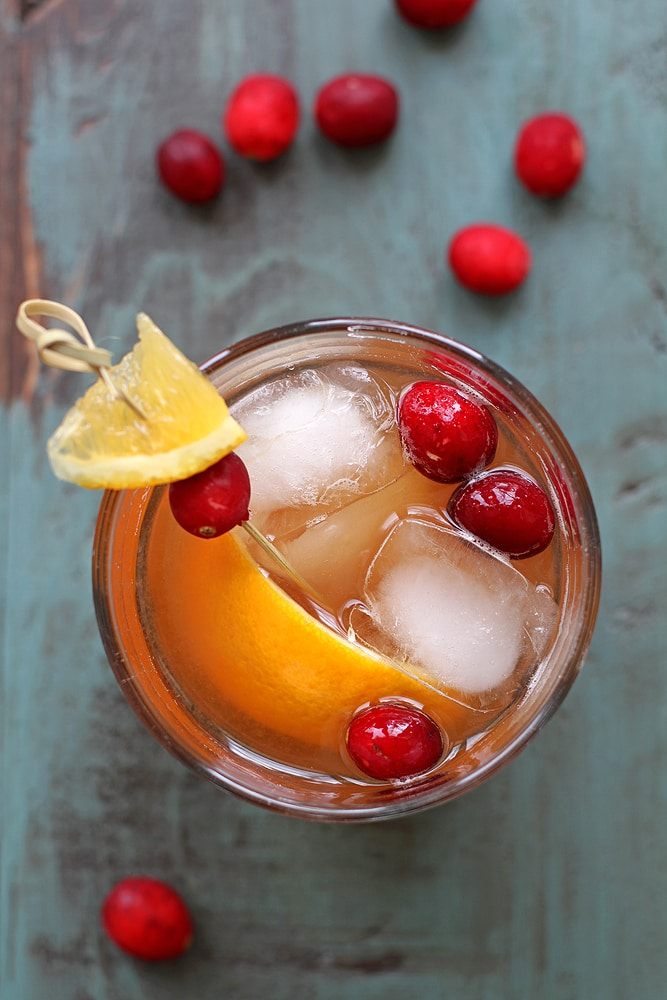 overhead view of cranberry old fashioned cocktail