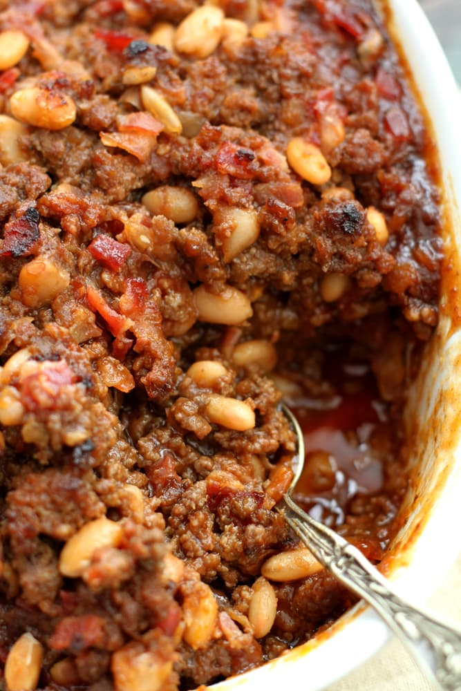 mom's baked bean casserole in dish