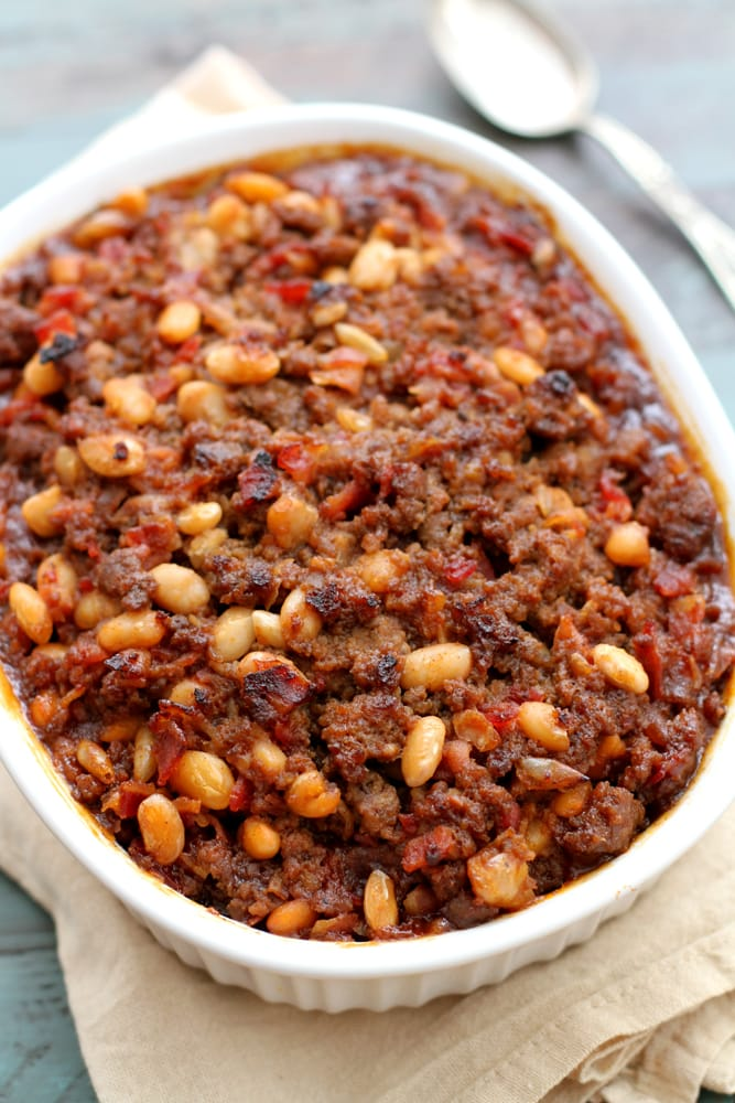 mom's baked bean casserole in a baking dish