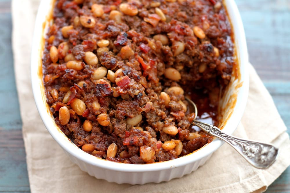 mom's baked bean casserole in a dish